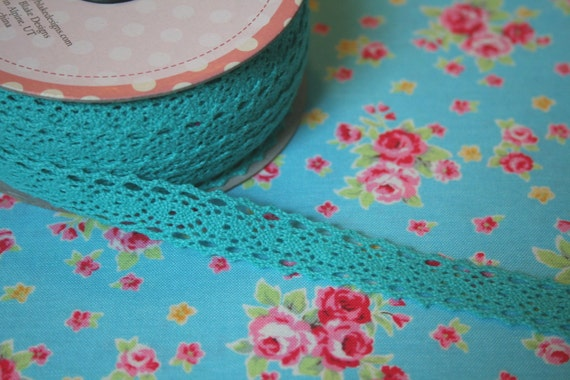 Riley Blake, Crocheted Lace in Turquoise/Teal 1 Yards