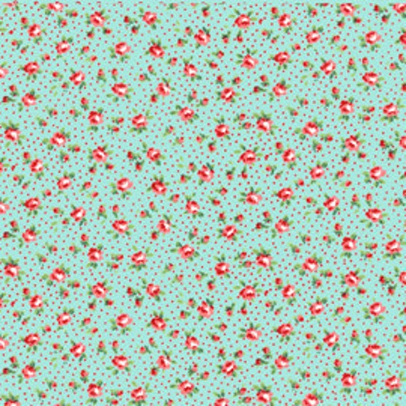 Annie's Farm Stand, Lakehouse, MINI ROSIE, Red and Aqua Roses with Polka Dots, 1/2 Yard