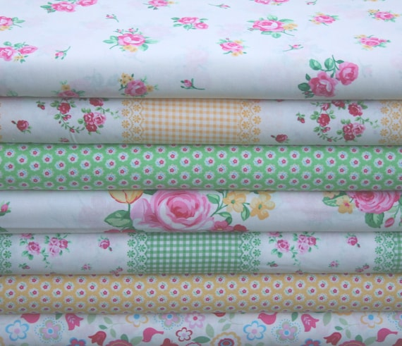 Japanese, Lecien FLOWER SUGAR 3 in Yellow, White and Green, 7 Fat Quarter Bundle
