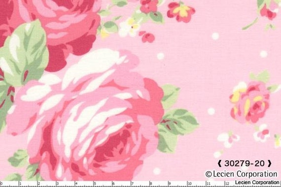 Last Piece, Japanese, Lecien, PRINCESS ROSE COLLECTION, Large Flowers and Mini Dots in Pink, 5 inches