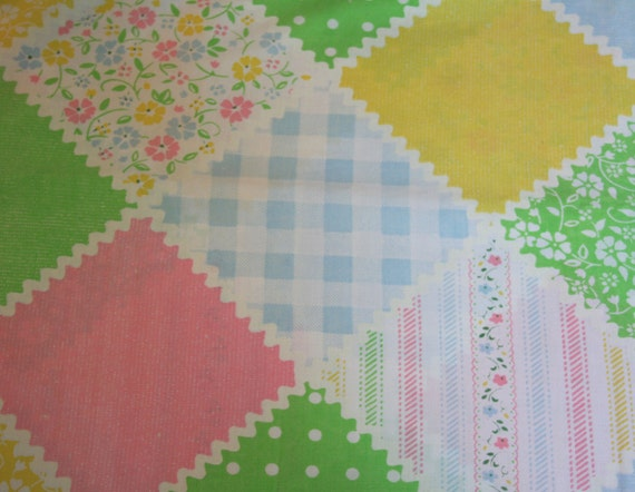 Pretty Floral, Ricrac and Gingham Patchwork, VINTAGE SHEET, Full Fitted Sheet