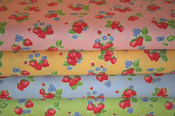 Pam Kitty Morning, Lakehouse, Strawberries, Fat Quarter Bundle of 4