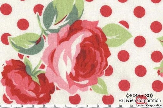 Reserved for Suzanne, Lecien FLOWER SUGAR, Fall 2011, Large Roses and Polka Dots in White, 6 yards