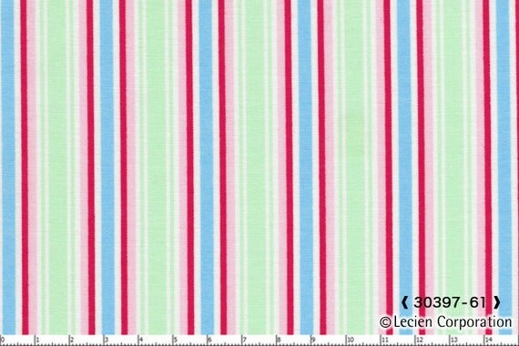 Reserved for Val, Japanese, Lecien FOLK HEART, Rosalie Quinlan, Ticking Stripe, Aqua Pink and Red, Fat Quarter