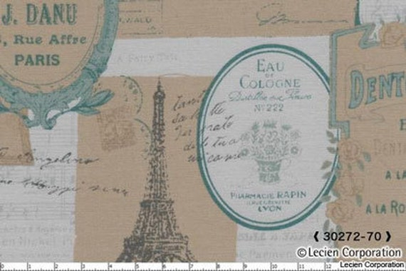 Japanese, Lecien, MRS. MARCH'S MODERN, French Postcards in Green, 30272-70, 1/2 Yard