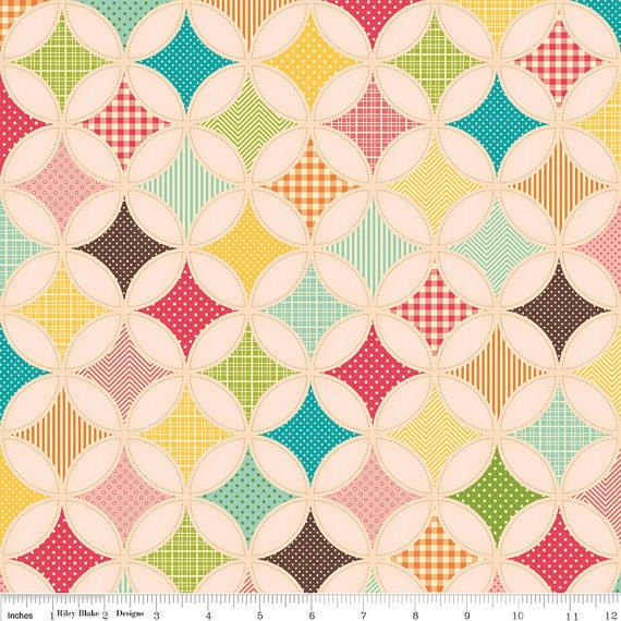 Riley Blake, FLY A KITE, October Afternoon, Ice Cream Designer Cloth in Pink, 1/2 Yard