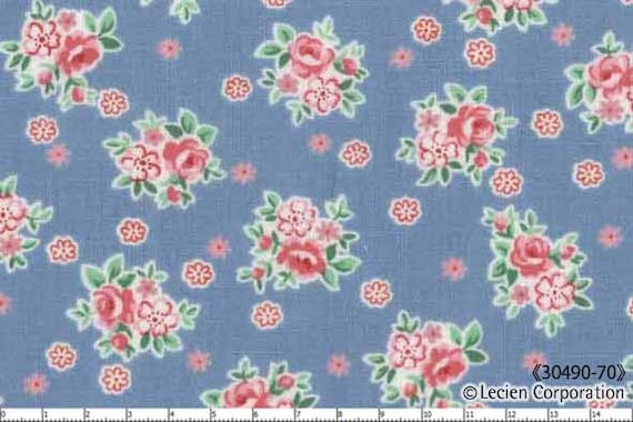 Japanese, Lecien, OLD NEW 30'S, Mini Flowers in Blue, 30490-70, Fat Quarter