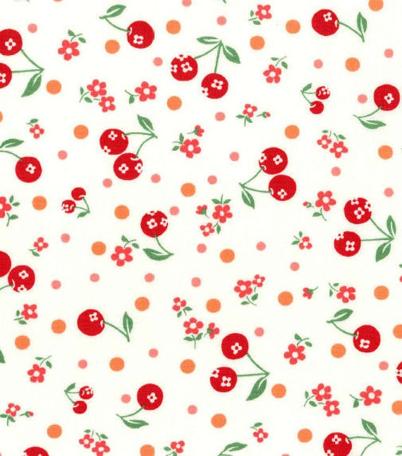 New, Japanese, ATSUKO MATSUYAMA, 30's Collection, Cherries and Flowers in Red on Ivory, 1/2 Yard