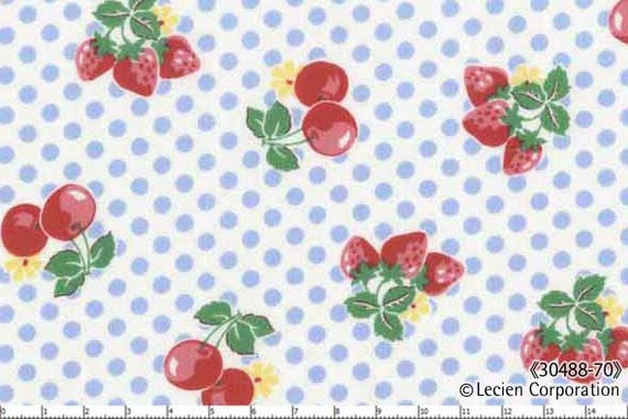 Japanese, Lecien, OLD NEW 30'S, Strawberries and Cherries with Blue Polka Dots, 30488-70, 1/2 Yard