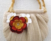 Romantic Clutch in Camel Cream Ivory with Flower