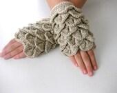 Fingerless Gloves , Champaigner, Taupe, Trendy, Grily, Teenie, Women, Flower, Artichoke