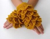 Fingerless Gloves , Mustard, Saffron, Gamboge, Gold, Trendy, Grily, Teenie, Women, Flower