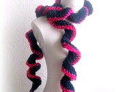 Crochet lariat scarf , Green, pink, Burgundy, Dark green, Necklace