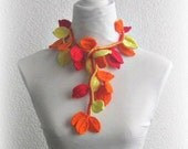 Crochet lariat scarf with Leaves in Red, Orange and Yellow, Necklace