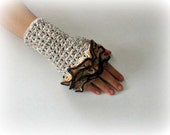 Fingerless Gloves , Beige, Ivory, Trendy, Girly, Teenie, Women, Flower, Ruffled, Earthtone