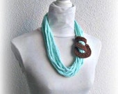 Crochet Neclace,Mint chain scarf,  crochet, infinity,  chunky ,Mint and Brown