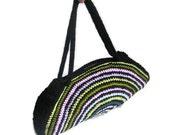 OOAK, Crochet Bag, Clutch, Colorful, Rainbow, Pink, Blue, Green, Yellow, Pink, Orchid,  Shabby, Chic, Circle, Stripe