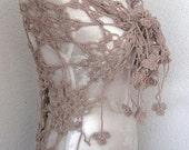 Triangle Shawl, Neckwarmer, Scarf, Crochet Shawl,  in  Ecru, Camel, Tan, Chamoisee, Taupe, Summer