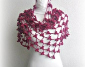 Shawl, Neckwarmer in Burgundy, Dogwood rose, Deep carmine, Crimson glory