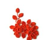 Crochet lariat scarf with Leaves in Orange, Neon, Feminine, Trendy, Spring, Summer, Harvest,