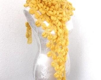 Scarf, Wrap, Shawl, Very Cozy Bean Shawl in  Yellow, Sunshine, Crochet Shawl,