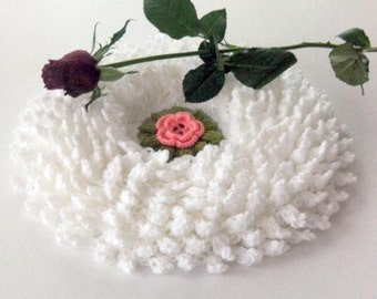 Romantic Country style bathroom washcloth or Smell cushion in White with Pink Rose Flower