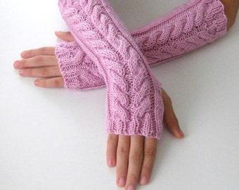 Fingerless Gloves - Rose, Dusty Rose, light pink