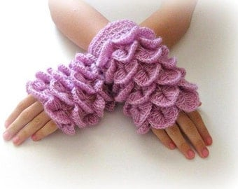 Fingerless Gloves , Lilac, Purple, Trendy, Grily, Teenie, Women, Flower