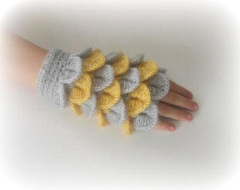 Fingerless Gloves - Grey, Gray, Yellow, Mustard