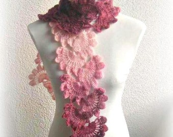 Hand Crochet Wrap Scarf Snood in Multicolor with Angora Mohair yarn, Crocheted Lace Scarf