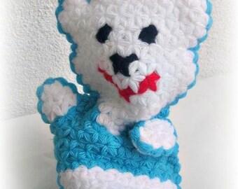 Sweet Bath Wash Cloth, Baby wash cloth, Teddybear, Blue white, Handmade, Crochet wash cloth