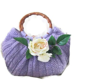 Romantic Crochet Bag, Clutch in Lilac, Purple, Amethyst, Orchid, with flowers, Shabby, Chic, Bags, Handbags
