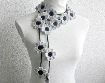 Crochet lariat, with Flower in Gray, Silver, Grey, Black,  Blossom,  Necklace,  Crochet Floral Necklace, Trendy, Infinity, Summer, Harvest,