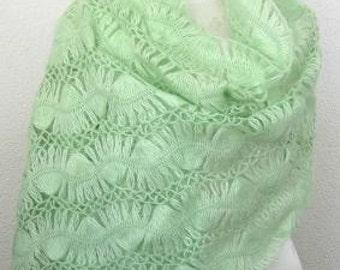 Beautiful Romantic Angora Rectiangle Shawl, Neckwarmer in Lime, Emerald, Mint, peridot