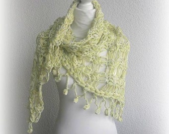 Beautiful Triangle Shawl, Neckwarmer in citrin,cream,white with designer yarn