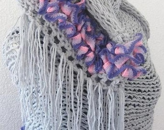 Rectangle Shawl, Neckwarmer in Grey Gray and lilac Purple, Romantic and Elegantly, Bridesmaid