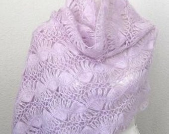 Beautiful Romantic Angora Triangle Shawl, Neckwarmer in Orchid ,Amethyst, Lavender,  soft purple