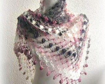 Crochet Shawl, Scarf,Triangle Shawl, Neckwarmer , rainbow, Colorful, Gray, Purple, Pink, White, Taupe