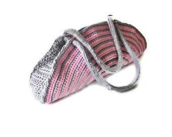 OOAK, Crochet Bag, Clutch, Colorful, Pink, Gray,  Shabby, Chic, Circle, Striped, Trendy,Romantic, Summer, Striped Handbag, Retro,