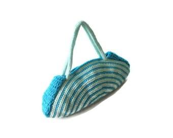 OOAK, Crochet Bag, Clutch, Colorful,  Mint, Aqua, , Blue,   Shabby, Chic, Circle, Stripe