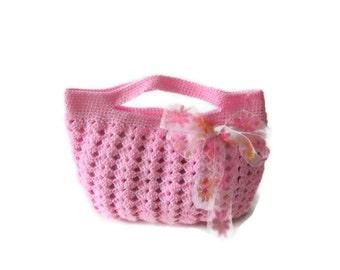 Romantic,  Crochet Bag, Clutch in Pink, Rose, Blush , with Ribbon, Woman, Handbags,  Clutch, Handbags, Trendy,