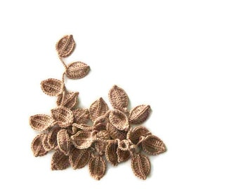Crochet lariat scarf with Leaves in Caramel, Brown, Camel, Feminine, Trendy, Spring, Summer, Harvest,