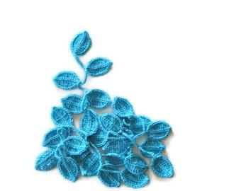 Crochet lariat scarf with Leaves in Blue, Turquois, Neon, Feminine, Trendy, Spring, Summer, Harvest,