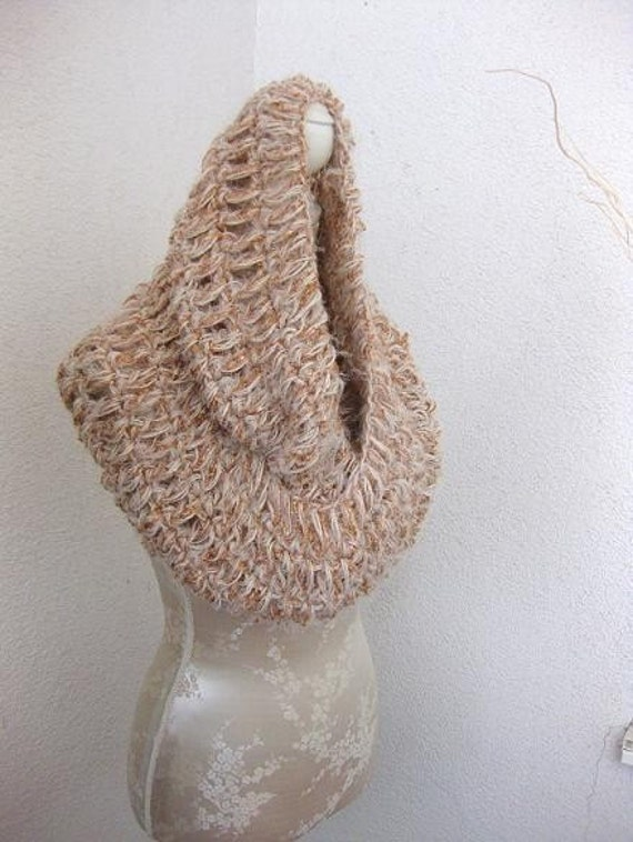 Creme, Beige, Gold Loop,Cozy Wrap UP , cowl