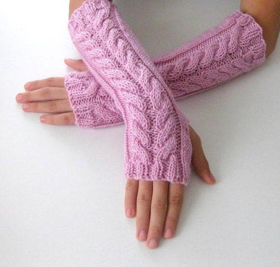 Fingerless Gloves - Rose, Dusty Rose, light pink