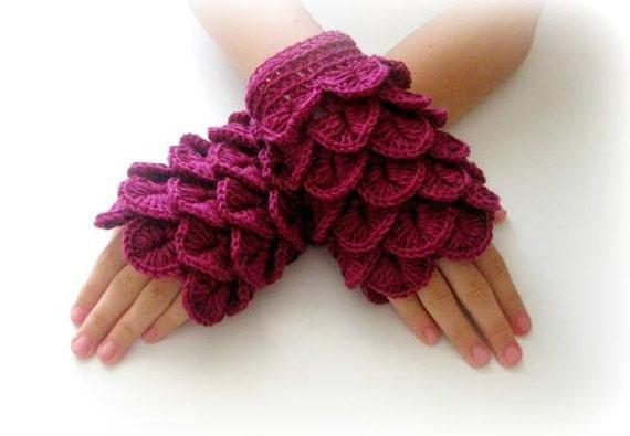 Fingerless Gloves , Burgundy, Fuchsia, Maroon, Red-violet,  Trendy, Girly, Teenie, Women, Flower