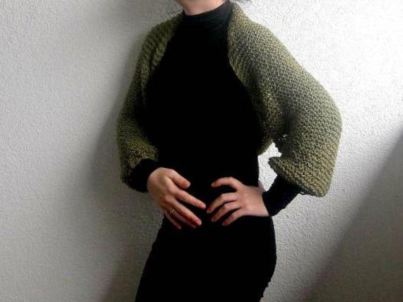 Shrug, Bolero, Army Green, Green, Multi-functional, knitted