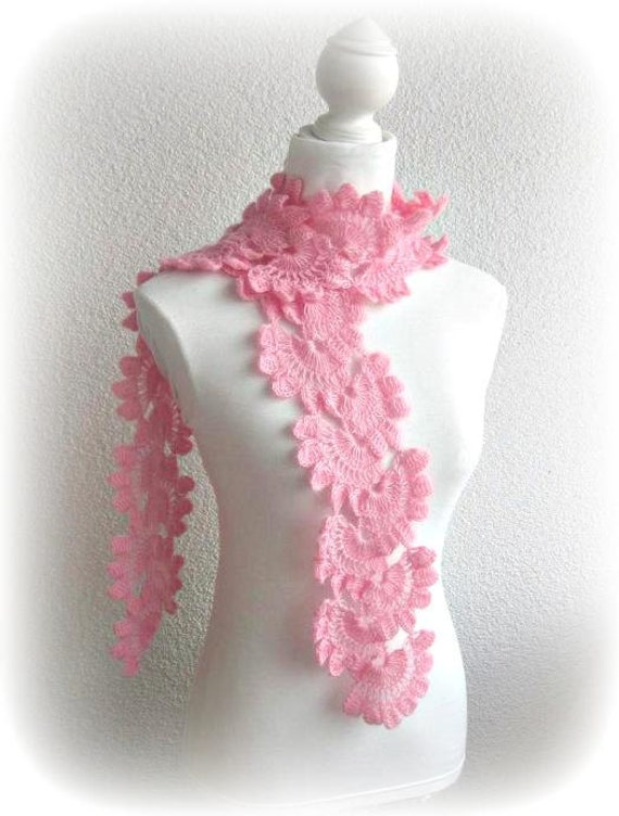 Hand Crochet Wrap Scarf Snood in Pink, Rose with Angora Mohair yarn, Crocheted Lace Scarf