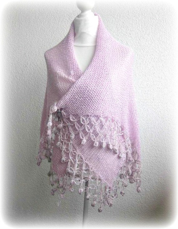 Multi-functional knitted cardigan, bolero, poncho, skirt and shrug in lilac silver, Amethyst