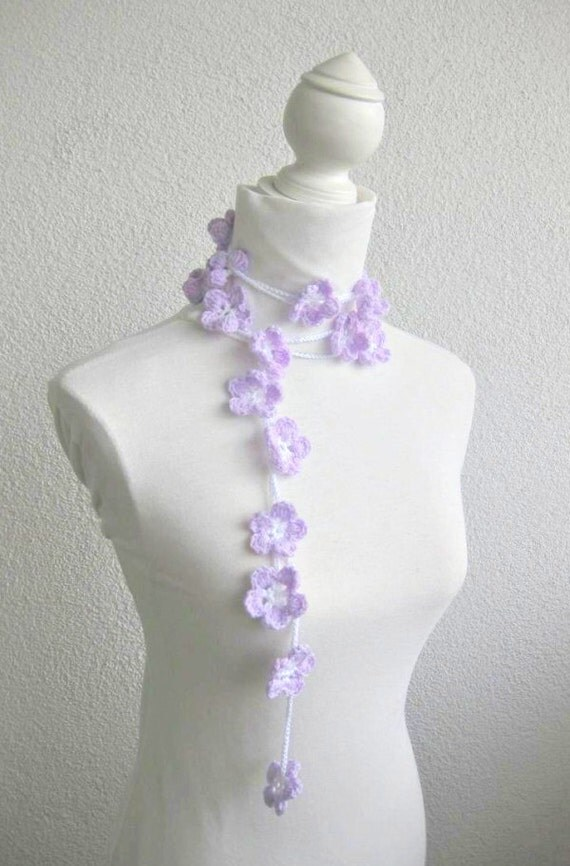 Crochet lariat scarf with Flower in Orchid, Lavender, White,  Necklace,  Crochet Floral Necklace, Feminine, Trendy, Spring, Summer, Harvest,